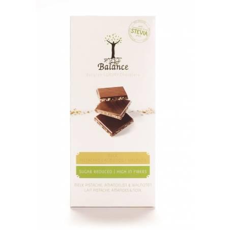 Tablette chocolat au lait / trois noix - Balance 85 g